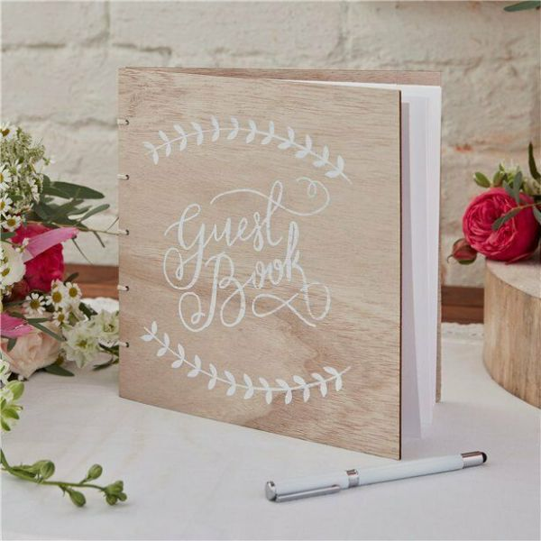 Ginger Ray Wooden Wedding Guest Book - Boho - 32 Pages
